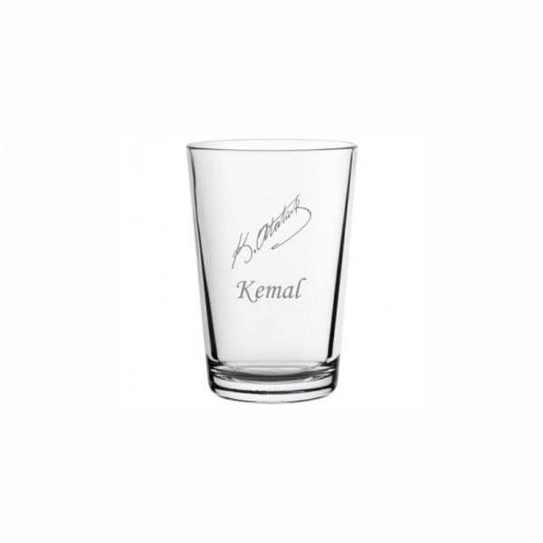 Atatürk İmzalı İsim Yazılı Klasik Su Bardağı