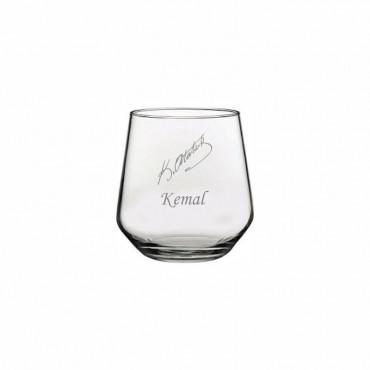 Atatürk İmzalı İsim İşleme Moser Su Bardağı