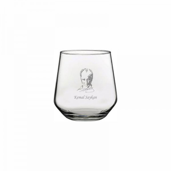 Atatürk İmzalı ve İsim Yazılı Moser Bardağı