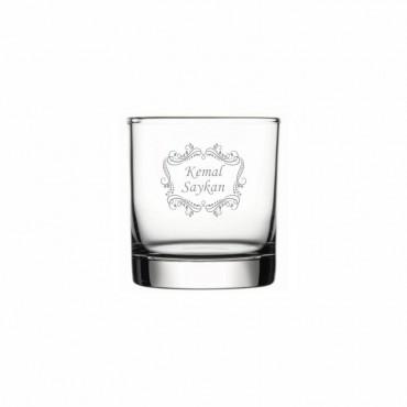 Motifli İsim Yazılı Klasik Viski Bardağı